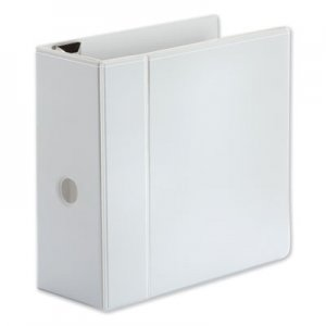 "Genpak Comfort Grip Deluxe Plus D-Ring View Binder, 5"" Capacity, 8-1/2 x 11, White UNV30756"
