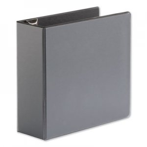 "Genpak Comfort Grip Deluxe Plus D-Ring View Binder, 4"" Capacity, 8-1/2 x 11, Black UNV30753"