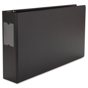 "Genpak Ledger-Size Round Ring Binder with Label Holder, 3"" Capacity, 11 x 17, Black UNV35423"