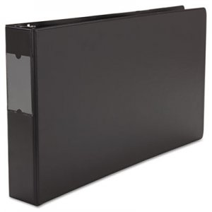 "Genpak Ledger-Size Round Ring Binder with Label Holder, 3 Rings, 2"" Capacity, 11 x 17, Black UNV35421"