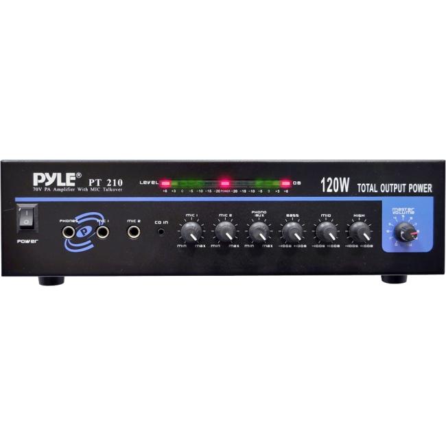 PyleHome 120 Watt Microphone PA Mono Amplifier w/70V Output & Mic Talkover PT210