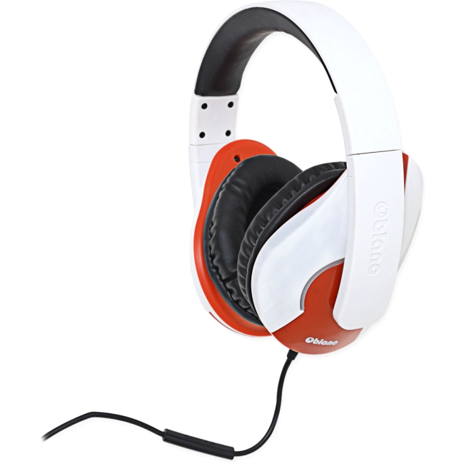 SYBA Multimedia Oblanc Shell (White/Red) Stereo Headphone w/In-line Microphone OG-AUD63046