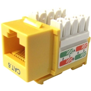 Weltron Cat6 Yellow 110 Keystone Punch Down Jack 44-678C6-YL