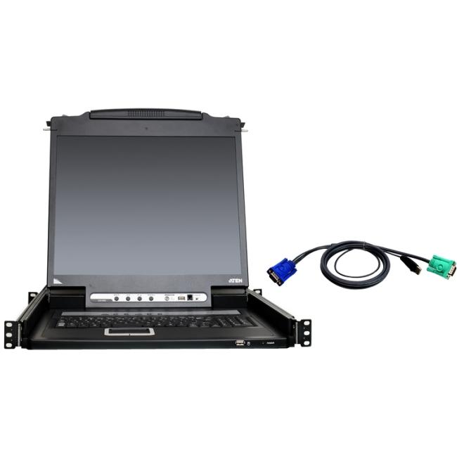 """Aten 8-Port 19"""" Single Rail USB/PS2 LCD KVM w/ Peripheral Sharing & 8 USB KVM Cables CL5708NUKIT"""