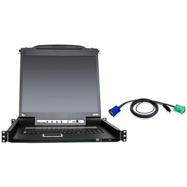 "Aten 16-Port 19"" LCD KVM Kit with 12-USB Cables CL5716NUKIT"
