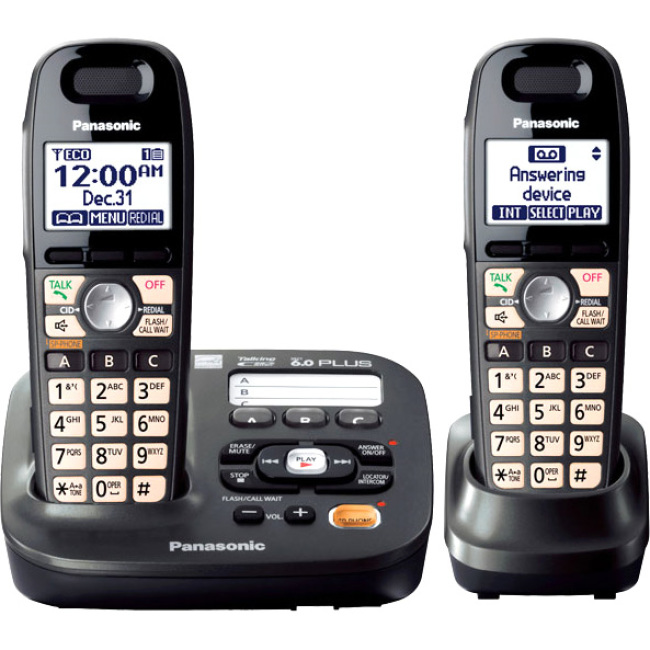 Panasonic Expandable Digital Cordless Answering System with 2 Handsets KX-TG6592T