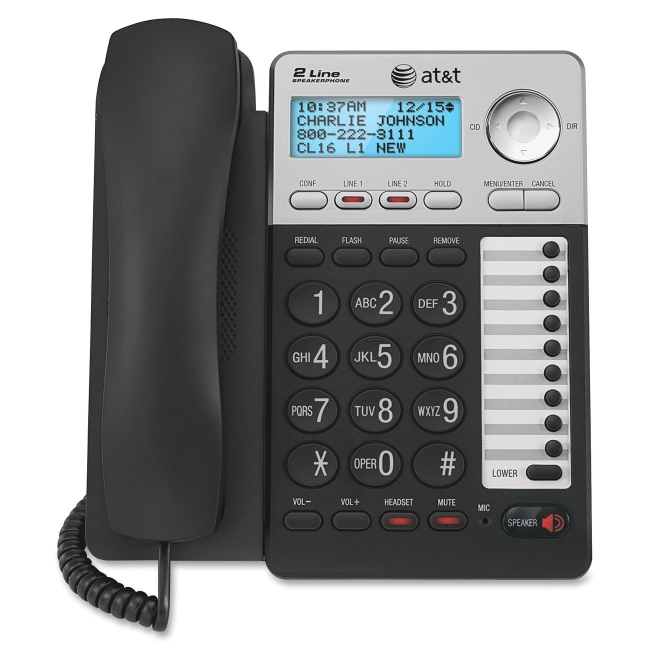 AT&T 2-Line Speaker Phone w/CID, Corded, Black/Silver ML17929