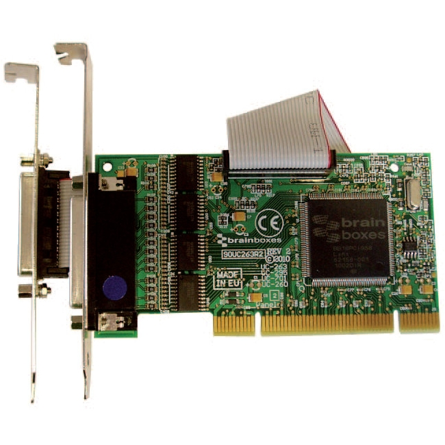 Brainboxes 4xRS232 Low Profile PCI Serial Port Card with LPT Parallel Port for Printer UC-263