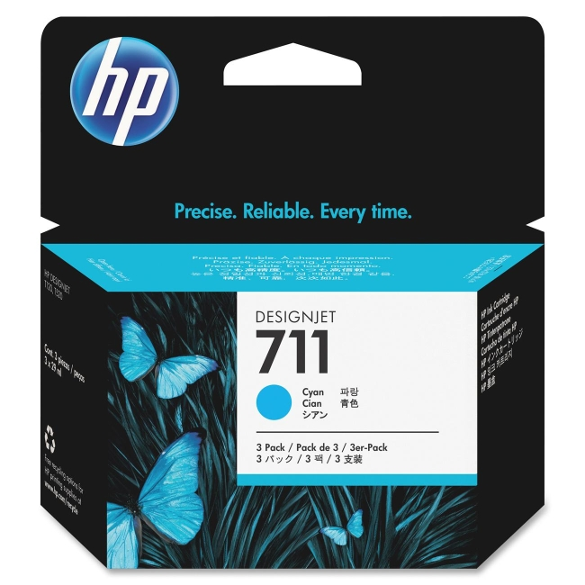 HP 3-pack 29-ml Cyan Ink Cartridges CZ134A 711