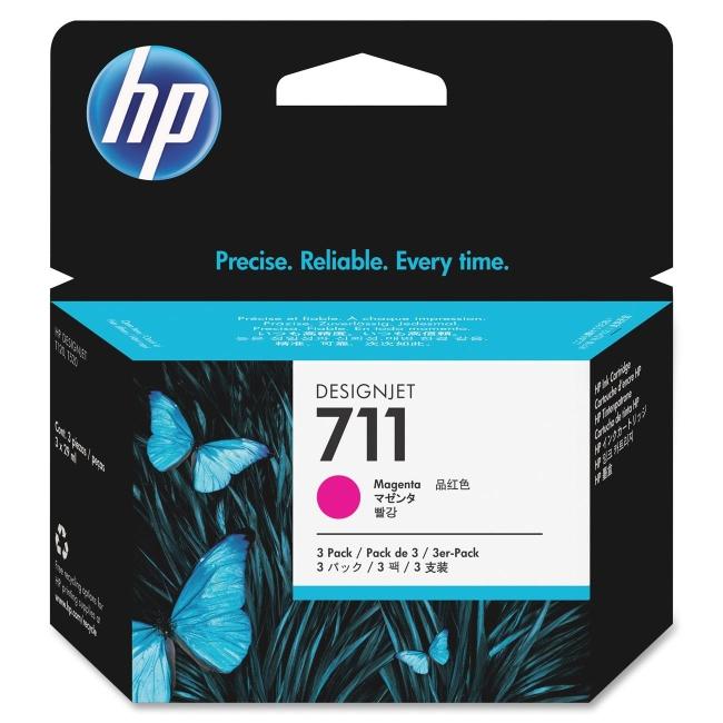 HP 3-Pack 29-ml Magenta Ink Cartridges CZ135A 711