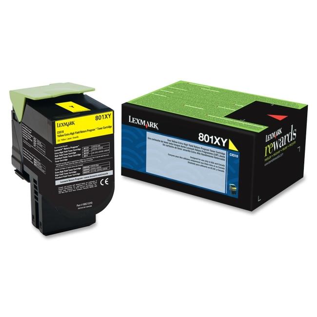 Lexmark Yellow Extra High Yield Return Program Toner Cartridge 80C1XY0 801XY
