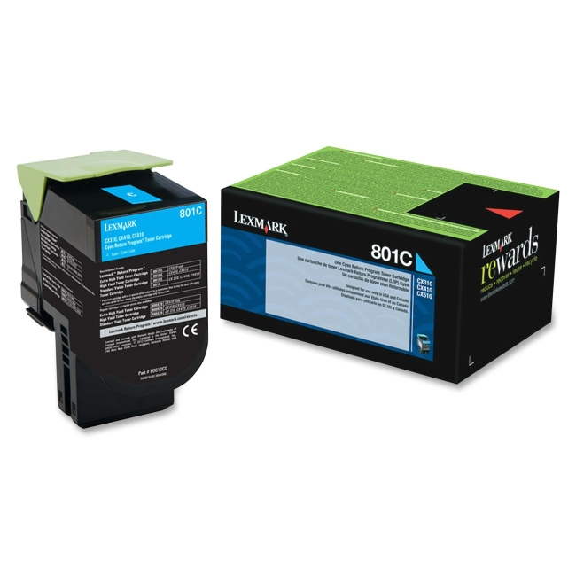 Lexmark Cyan Return Program Toner Cartridge 80C10C0 801C
