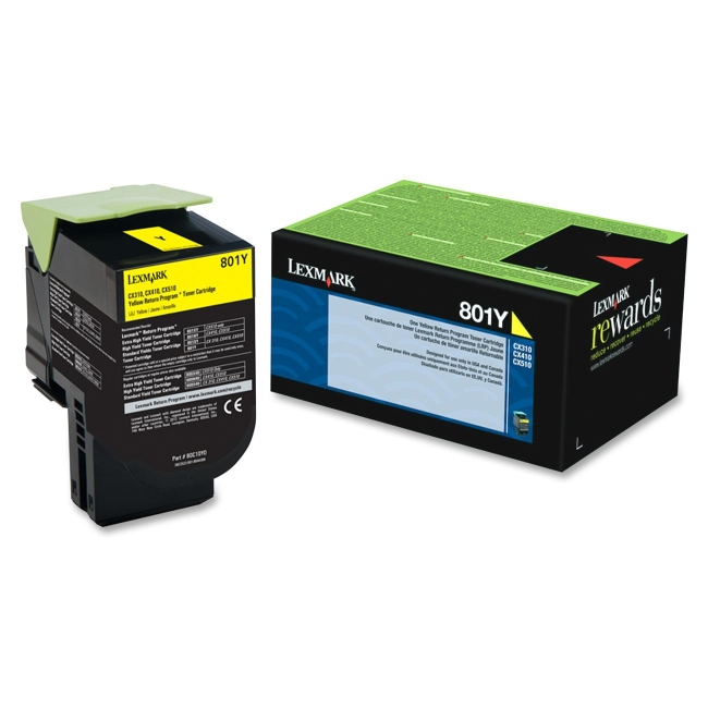 Lexmark Yellow Return Program Toner Cartridge 80C10Y0 801Y