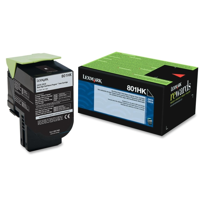 Lexmark Black High Yield Return Program Toner Cartridge 80C1HK0 801HK
