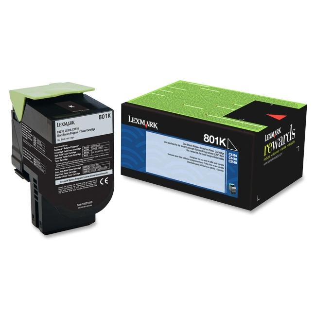 Lexmark Black Return Program Toner Cartridge 80C10K0 801K