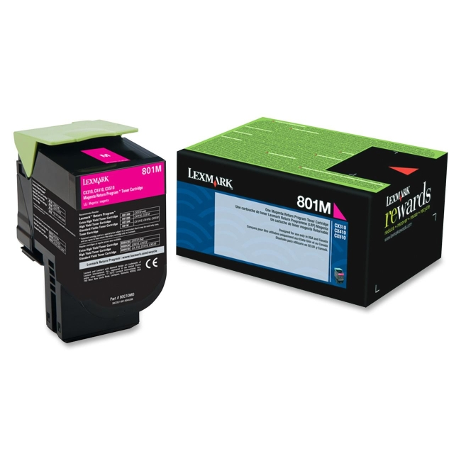 Lexmark Magenta Return Program Toner Cartridge 80C10M0 801M