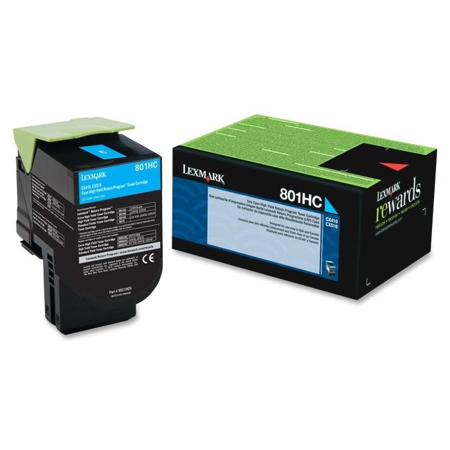 Lexmark Cyan High Yield Return Program Toner Cartridge 80C1HC0 801HC