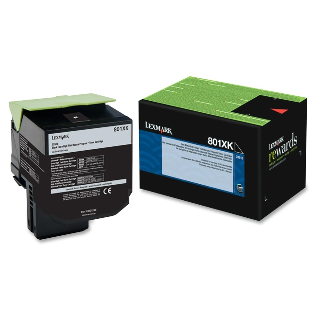 Lexmark Black Extra High Yield Return Program Toner Cartridge 80C1XK0 801XK