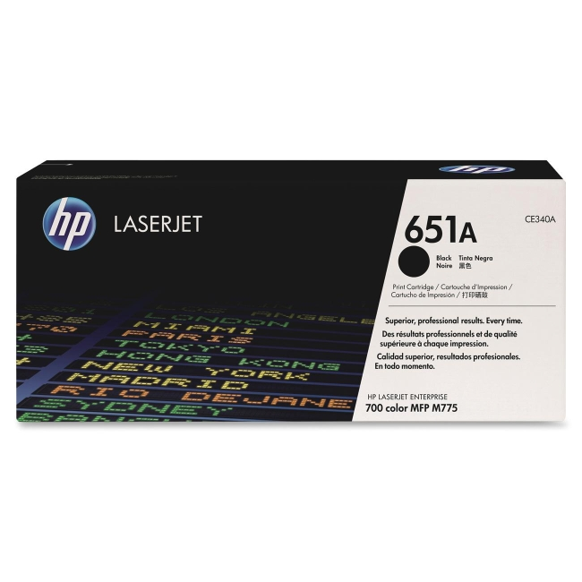HP Black Original LaserJet Toner Cartridge CE340A 651A