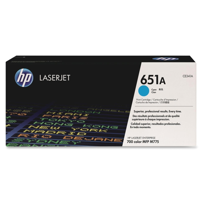 HP Cyan Original LaserJet Toner Cartridge CE341A 651A