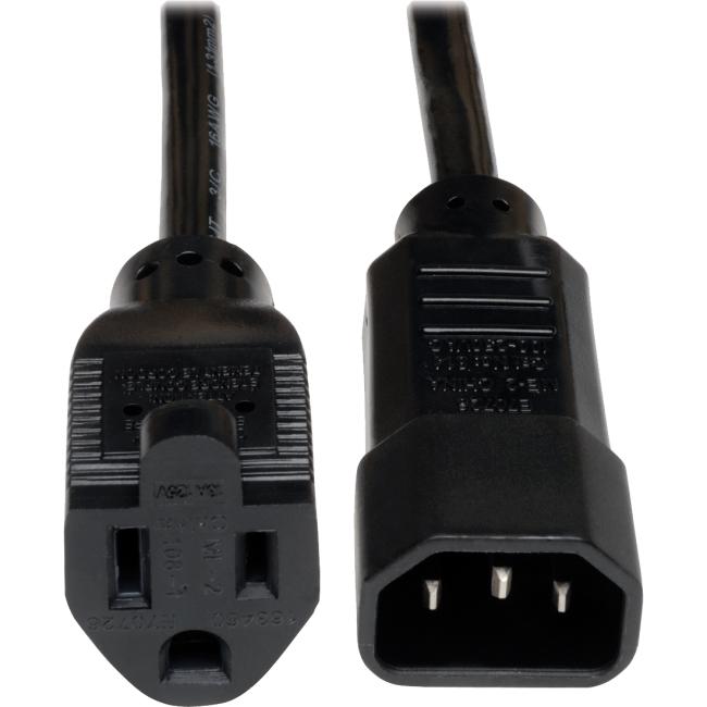 Tripp Lite 1-ft. 18AWG Power Cord (IEC-320-C14 to NEMA 5-15R) P002-001-10A