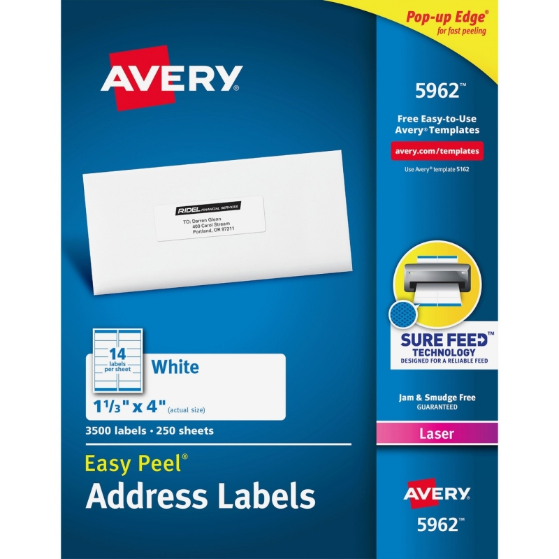 Avery Easy Peel White Mailing Labels 5962 AVE5962