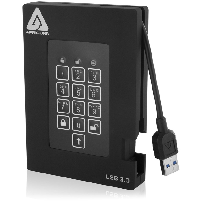 Apricorn Aegis Padlock Fortress with Integrated USB 3.0 Cable A25-3PL256-500F