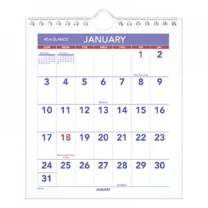 At-A-Glance Mini Monthly Wall Calendar, 6 1/2 x 7 1/2, White, 2020 AAGPM528 PM528