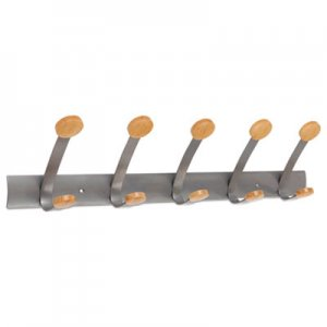 Alba Wooden Coat Hook, Five Wood Peg Wall Rack, Brown/Silver ABAPMV5 PMV5