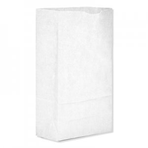 "Genpak Grocery Paper Bags, 35 lbs Capacity, #6, 6""w x 3.63""d x 11.06""h, White, 500"