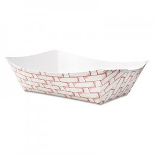 Boardwalk Paper Food Baskets, 3lb Capacity, Red/White, 500/Carton BWK30LAG300