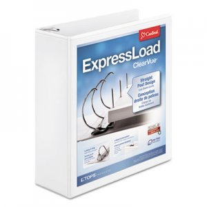 "Cardinal ExpressLoad ClearVue Locking D-Ring Binder, 3 Rings, 3"" Capacity, 11 x 8.5, White CRD49130 49130"