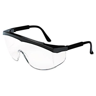 Crews Stratos Safety Glasses, Black Frame, Clear Lens SS110 CRWSS110 135-SS110
