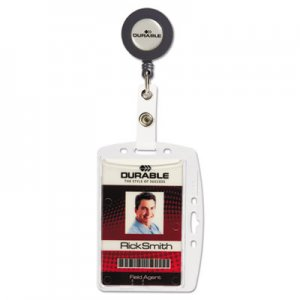 Durable ID/Security Card Holder Set, Vertical/Horizontal, Reel, Clear, 10/Pack DBL801219 801219