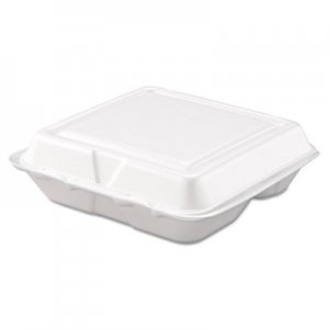 Dart Carryout Food Container, Foam, 3-Comp, White, 8 x 7 1/2 x 2 3/10, 200/Carton DCC80HT3R