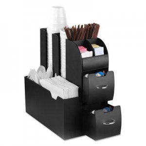 Mind Reader Coffee Condiment Caddy Organizer, 5 2/5 x 11 x 12 3/5, Black EMSCAD01BLK CAD01-BLK