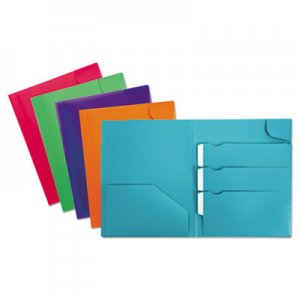 Oxford Divide It Up Four-Pocket Poly Folder, 11 x 8-1/2, Assorted OXF99837 99837