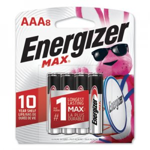 Energizer MAX Alkaline Batteries, AAA, 8 Batteries/Pack EVEE92MP8 E92MP-8