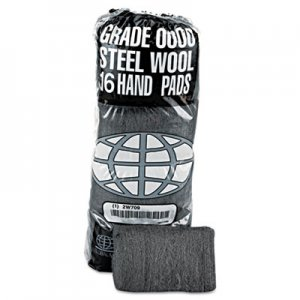 GMT Industrial-Quality Steel Wool Hand Pad, #0000 Super Fine, 16/Pack, 192/Carton GMA117000 117000
