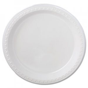 "Chinet Heavyweight Plastic Plates, 9"" Diameter, White, 125/Pack, 4 Packs/CT HUH81209 81209"