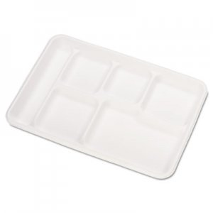 Chinet Heavy-Weight Molded Fiber Cafeteria Trays, 6-Comp, 8 1/2 x 12 1/2, 500/Carton HUH22021CT 22021