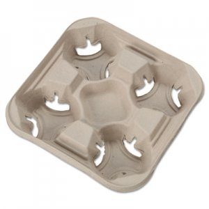 Chinet StrongHolder Molded Fiber Cup Trays, 8-32 oz, Four Cups, Beige, 300/Carton HUH20994CT 20994
