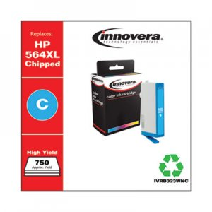 Innovera Remanufactured Cyan High-Yield Ink, Replacement for HP 564XL (CB323WN), 750 Page-Yield IVRB323WNC IVRB323WN