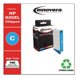 Innovera Remanufactured Cyan High-Yield Ink, Replacement for HP 920XL (CD972AN), 700 Page-Yield IVRD972ANC IVRD972AN