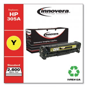 Innovera Remanufactured CE412A (305A) Toner, 2600 Page-Yield, Yellow IVRE412A