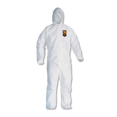 KleenGuard A20 Elastic Back, Cuff & Ankle Hooded Coveralls, Zip, X-Large, White, 24/Carton KCC49114 417-49114