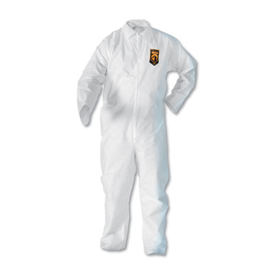 KleenGuard A20 Breathable Particle-Pro Coveralls, Zip, X-Large, White, 24/Carton KCC49004 417-49004