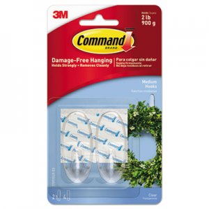 Command Clear Hooks and Strips, Plastic, Medium, 2 Hooks and 4 Strips/Pack MMM17091CLRES 17091CLR-ES
