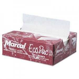 Marcal Eco-Pac Interfolded Dry Wax Paper, 6 x 10 3/4, White, 500/Pack, 12 Packs/Carton MCD5290 MCD