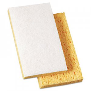 "Boardwalk Scrubbing Sponge, Light Duty, 3.6 x 6.1, 0.7"" Thick, Yellow/White, Individually Wrapped, 20/Carton BWK16320"